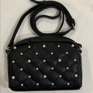 Handbags - Faux Black Leather & Pearls Crossbody Bag!
